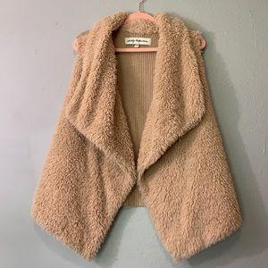 Sebby Collection Faux Fur Knit Back Vest L